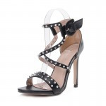 Black Spikes Swirl Straps Evening Gown High Heels Stiletto Sandals Shoes