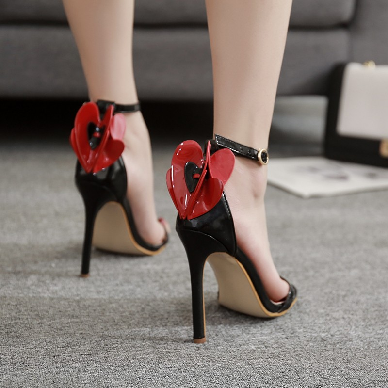 black red high heels