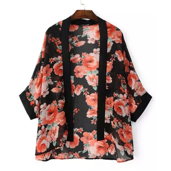 Black Red Vintage Roses Retro Chiffon Kimono Cardigan Outer Wear