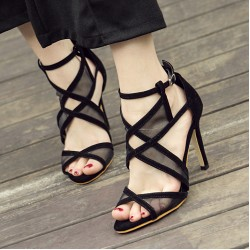 Black Suede Cross Straps Evening Gown High Heels Stiletto Sandals Shoes