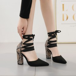 Black Suede Snake Print Cross Straps Pointed Head High Heels Stiletto Sandals Shoes