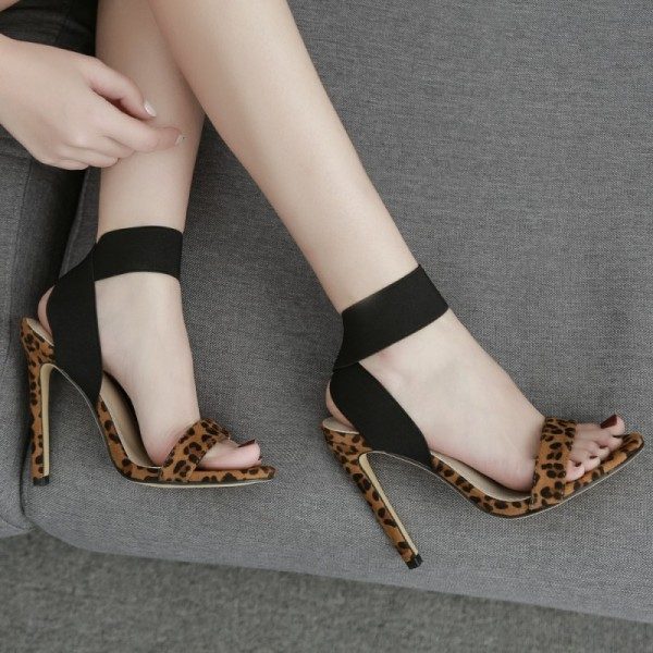 Brown Leopard Suede Cross Ankle Straps Sandals High Heels Stiletto Shoes
