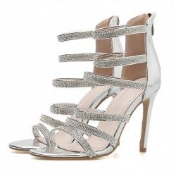 SIlver Metallic Diamantes Strappy Evening Gown High Heels Stiletto Sandals Shoes