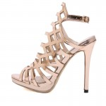 Gold Metallic Cage Hollow Out Strappy Evening Gown High Heels Stiletto Sandals Shoes