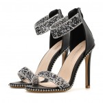 Black Diamantes Ankle Strap Studs Evening Gown High Heels Stiletto Sandals Shoes