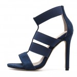 Blue Navy Suede Strappy High Heels Stiletto Sandals Shoes