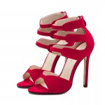 Red Suede Strappy High Heels Stiletto Sandals Shoes