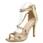 Gold Metallic Chains Strappy Evening Gown High Heels Stiletto Sandals Shoes