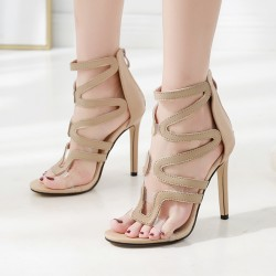 Khaki Hollow Out High Heels Stiletto Sandals Shoes