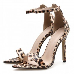 Khaki Leopard Print Sexy High Heels Stiletto Sandals Shoes
