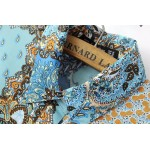 Blue Paisley Retro Vintage Long Sleeves Blouse Shirt