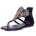 Black Suede Diamonte Rhinestones Fancy Elegant Evening Flats Flip Flop Sandals