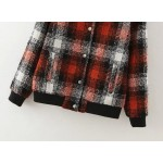 Red Black Plaid Checkers Baseball Aviator Bomber Rider Jacket