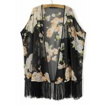 Black Vintages Giant Florals Retro Chiffon Tassels Kimono Cardigan Outer Wear
