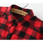 Red Black Plaid Country Checkers Vintage Retro Cotton Long Sleeves Blouse Shirt
