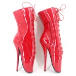 Red Patent Lace Up Super High Stieltto Heels Lady Gaga Weird Boots Shoes