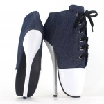 White Patent Blue Denim Lace Up Super High Stieltto Heels Lady Gaga Weird Boots Shoes