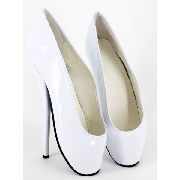 White Patent Glossy Ballet Ballerina Super High Stieltto Heels Lady Gaga Weird Shoes