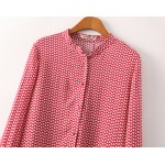Red White Leaves Pattern Cotton Long Sleeves Blouse Shirt