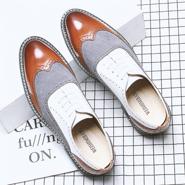 White Brown Wingtip Leather Dapper Man Lace Up Mens Oxfords Dress Shoes