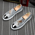 Silver Glitters Bee Embroidery Sneakers Loafers Sneakers Mens Shoes Flats