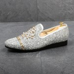 Silver Glitters Bling Bling Gold Studs Loafers Dress Dapper Man Shoes Flats