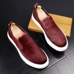 Burgundy Pony Fur Sneakers Loafers Sneakers Mens Shoes Flats