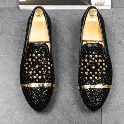 Black Glitters Bling Bling Gold Studs Loafers Dress Dapper Man Shoes Flats