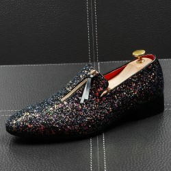 Black Glitters Bling Bling Zipper Loafers Dress Dapper Man Shoes Flats