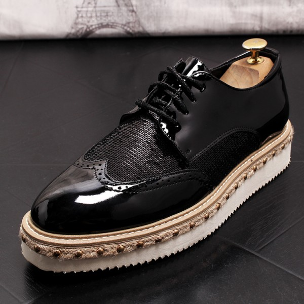 Black Patent Sequins Lace Up Platforms Oxfords Mens Dress Shoes Flats
