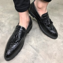 Black Patent Tassels Croc Mens Pointed Head Loafers Dress Dapper Man Shoes Flats