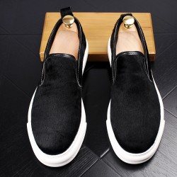 Black Pony Fur Sneakers Loafers Sneakers Mens Shoes Flats