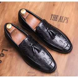 Black Tassels Hollow Out Mens Loafers Dress Dapper Man Shoes Flats