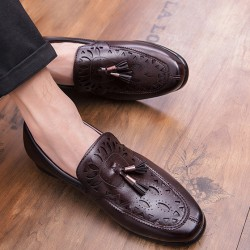 Brown Tassels Hollow Out Mens Loafers Dress Dapper Man Shoes Flats