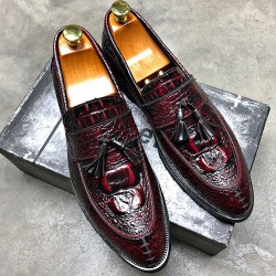 Burgundy Patent Tassels Croc Mens Pointed Head Loafers Dress Shoes Flats
