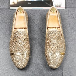 Gold Glitters Bling Bling Gold Studs Loafers Dress Dapper Man Shoes Flats