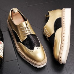 Gold Sequins Lace Up Platforms Oxfords Mens Dress Shoes Flats