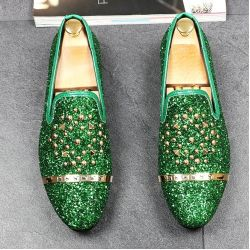 Green Glitters Bling Bling Gold Studs Loafers Dress Dapper Man Shoes Flats