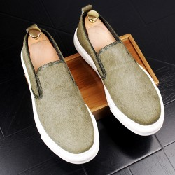Green Pony Fur Sneakers Loafers Sneakers Mens Shoes Flats