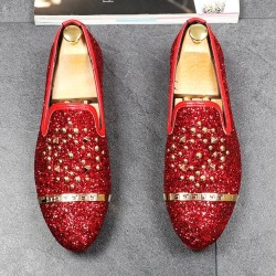 Red Glitters Bling Bling Gold Studs Loafers Dress Dapper Man Shoes Flats