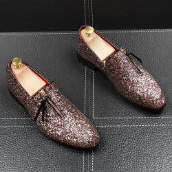 Silver Glitters Bling Bling Zipper Loafers Dress Dapper Man Shoes Flats