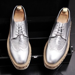 Silver Sequins Lace Up Platforms Oxfords Mens Dress Shoes Flats