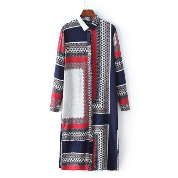 Blue Red Geometric Retro Long Boyfriend Blouse Kimono Cardigan Outer Wear