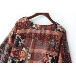 Burgundy Vintage Retro Loose Fit Chiffon Kimono Cardigan Outer Wear