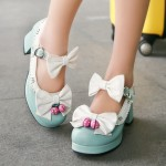 Blue White Strawberry Bells Bow Lace Trim Lolita Sweet Mary Jane Heels Shoes