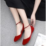 Red Velvet Mary Jane Ballerina Ballet Flats Shoes