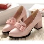 Pink Patent Bow High Studs Heels Dress Shoes