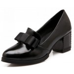 Black Patent Bow High Studs Heels Dress Shoes
