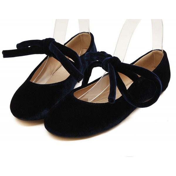 Blue Navy Velvet Ankle Lace Up Ballerina Ballet Flats Shoes
