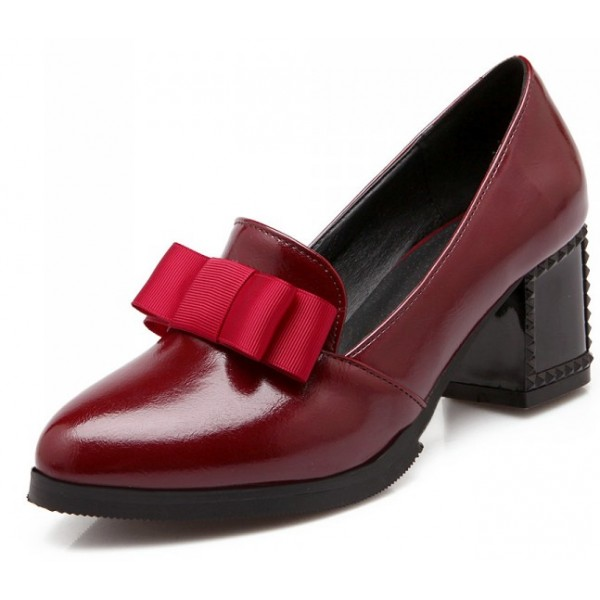 Burgundy Red Patent Bow High Studs Heels Dress Shoes